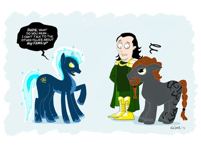 My Little Sleipnir and the thing with his dads mlp mylittlepony tribute fanart meanwhiles evejay