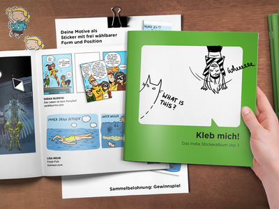 Kleb mich! (Stick me!) - Pitch preview 2 stickers stickerbook webcomics crowdfundining startnext kickstarter comicon event promotion sticker magazine kleb mich! bande dessinee
