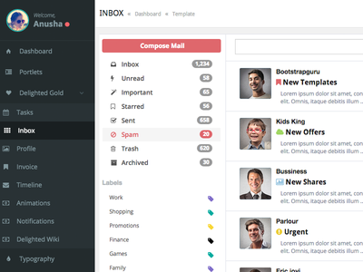 Inbox Page inbox mail admin dashboard compose email gmail