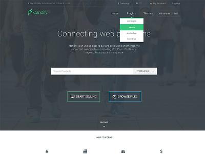 Xtendify Redesign digital download home page landing page bootstrap website bootstrapguru flat design modern design latest dropdown navbar butto