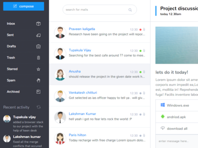 Inbox Page for admin dashboard project bootstrapguru bootstrap dashboard admin web app mail inbox
