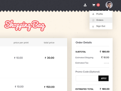 Printagram Cart Page payment checkout order bootstrap bootstrapguru coupon cart printagram