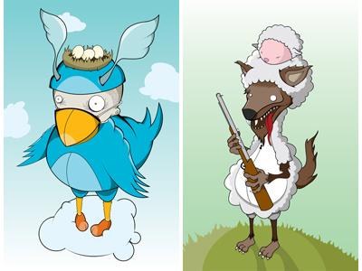 Tweeter & Wolf in Sheep illustration