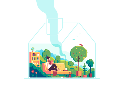 Stay Home reading garden nature house color illustration