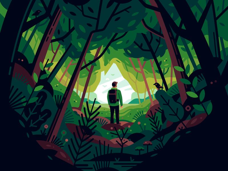Forest house traveler green forest nature color illustration
