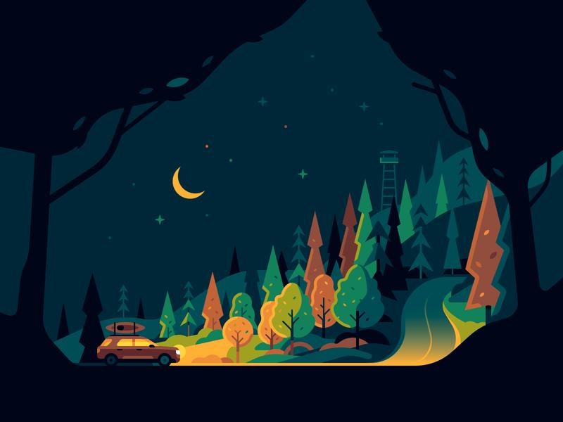 Forest Road car night light trees landscape travel nature color illustration