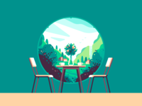 Window flowers cafe interior green nature color illustration