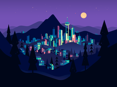 Mountain City vector night landscape buildings city illustration color