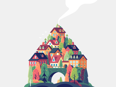 House nature town village vector color illustration