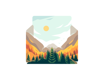 Letter mountains vector landscape nature shape color illustration