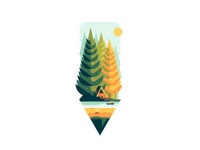Pencil house trees forest nature shape color illustration