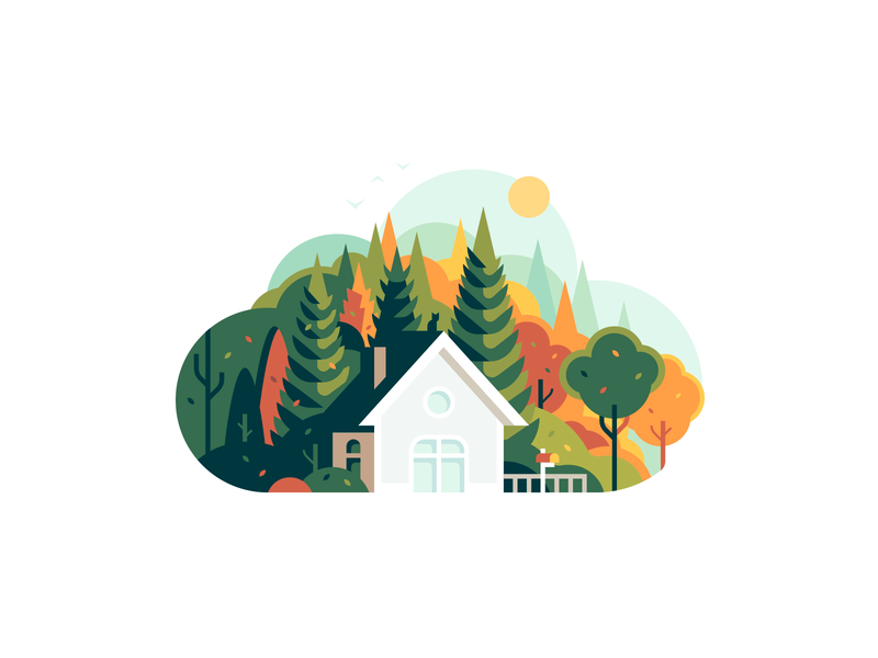 Cloud trees nature house forest shape color illustration