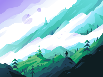 Mountains vector landscape nature color illustration