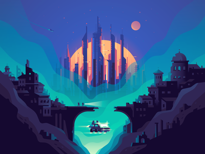 Ruins vector sunset evening future cyberpunk landscape color illustration