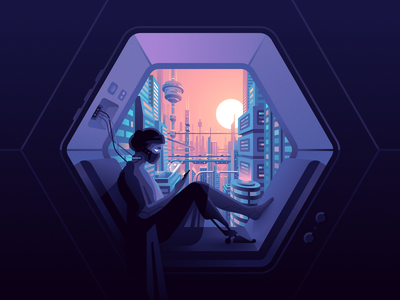 Window cybergirl future cyberpunk vector color illustration