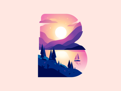 B illustration sailboat sunset bay color letter type 36daysoftype