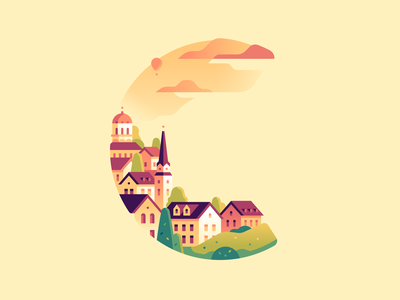 C europe oldcity letter type 36daysoftype color illustration