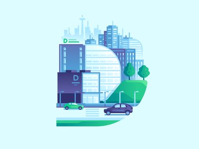 D urban downtown city color illustraion letter type 36daysoftype