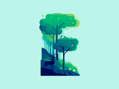 E deer forest nature color illustraion letter type 36daysoftype