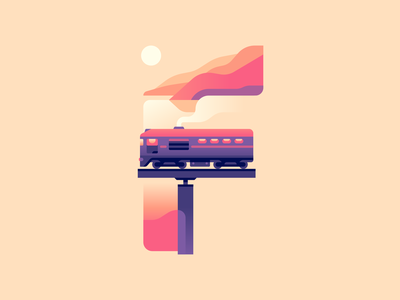 F sunset bridge train letter type 36daysoftype nature color illustration