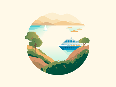 G travel cruiseship bay nature letter type 36daysoftype color illustration