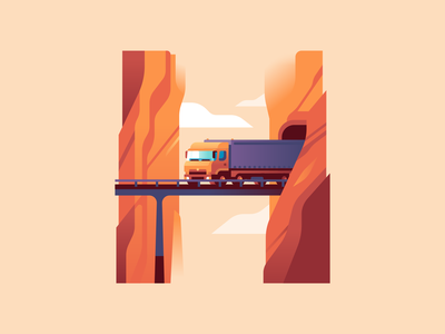 H tunnel canyon bridge truck letter type 36daysoftype color illustration