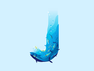J fish water ocean sea letter type 36daysoftype color illustration