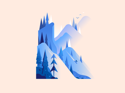 K snowboarding snow mountains winter nature letter type 36daysoftype illustration color
