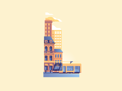 L city tram urban letter type 36daysoftype color illustration