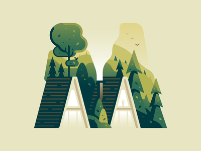 M village house forest nature letter type 36daysoftype color illustration