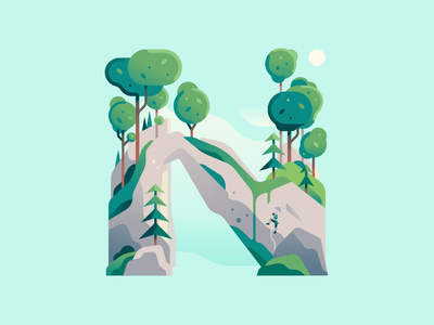 N climbing rock nature letter type 36daysoftype color illustration