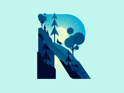R waterfall wolf moon night nature letter type 36daysoftype illustration color