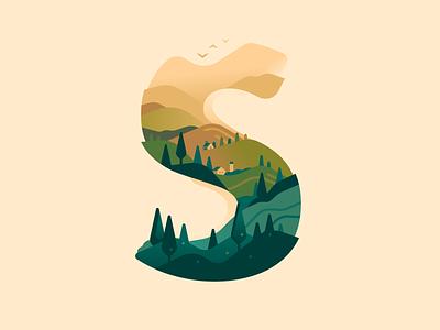S farm hills nature letter type 36daysoftype color illustration