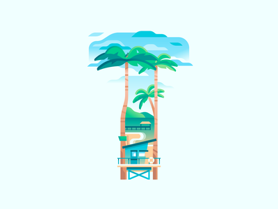 T nature travel palms palm beach sea letter type 36daysoftype color illustration