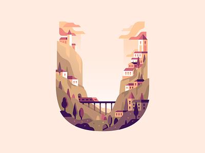 U village train bridge travel nature type letter 36daysoftype color illustration