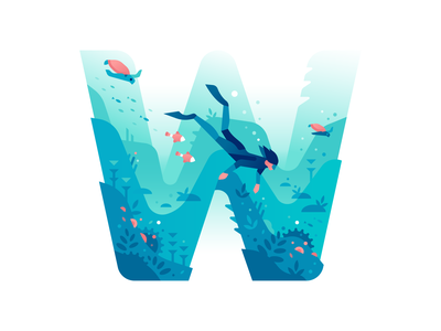 W diving ocean sea underwater letter type 36daysoftype nature illustration color