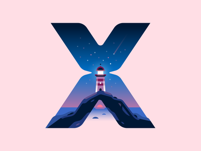 X lighthouse sunset sea ocean nature letter type 36daysoftype color illustration