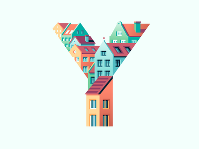 Y roofs houses city town letter type 36daysoftype color illustration