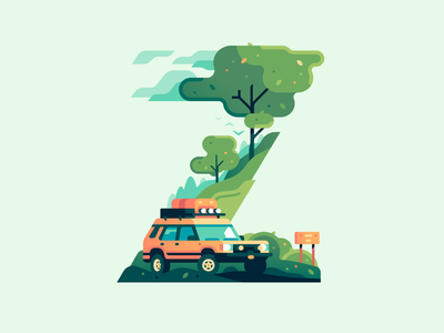 Z suv nature travel type letter 36daysoftype color illustration