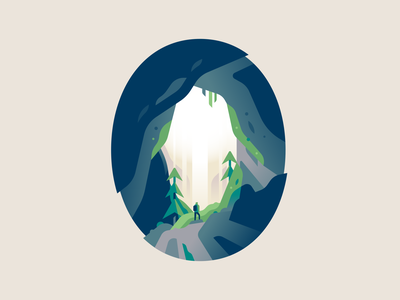 0 type letter 36daysoftype waterfall cave adventure travel nature illustration color