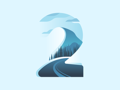 2 road mountain snow winter nature type letter 36daysoftype color illustration