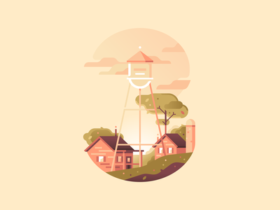 3 watertower village rancho farm type letter 36daysoftype nature illustration color