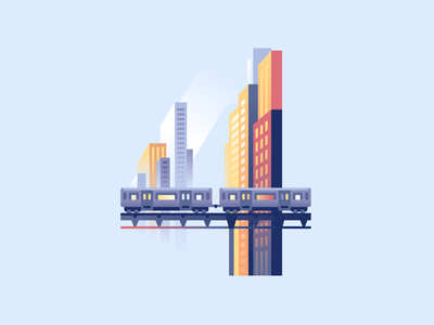 4 train metro buildings dowtown city letter type 36daysoftype color illustration