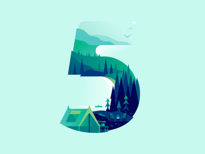 5 camping travel nature type letter 36daysoftype illustration color