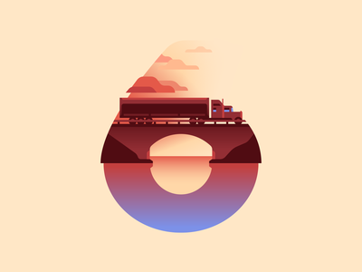 6 truck bridge water sunset type letter 36daysoftype color illustration