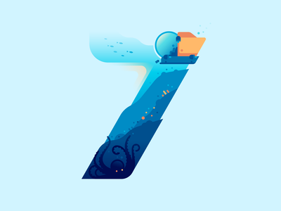 7 cthulhu octopus submersible ocean sea underwater type letter 36daysoftype color illustration