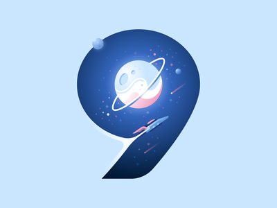 9 planet universe spaceship space type letter 36daysoftype color illustration