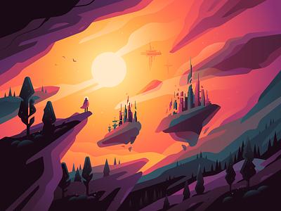 ▽ Levitation ▽ landscape vector scifi nft nature illustration color