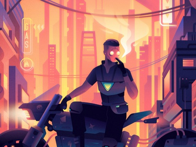 Between the Walls nft sunset city motorbike motorcycle bike dysopia sci-fi future cyberpunk color illustration