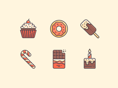 Sweets Icons color line icons